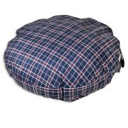 Comfortable_Circular_Bed_with_Memory_Foam_Tartan_Navy_blue_03