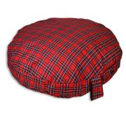 Comfortable_Circular_Bed_with_Memory_Foam_Tartan_Red_03