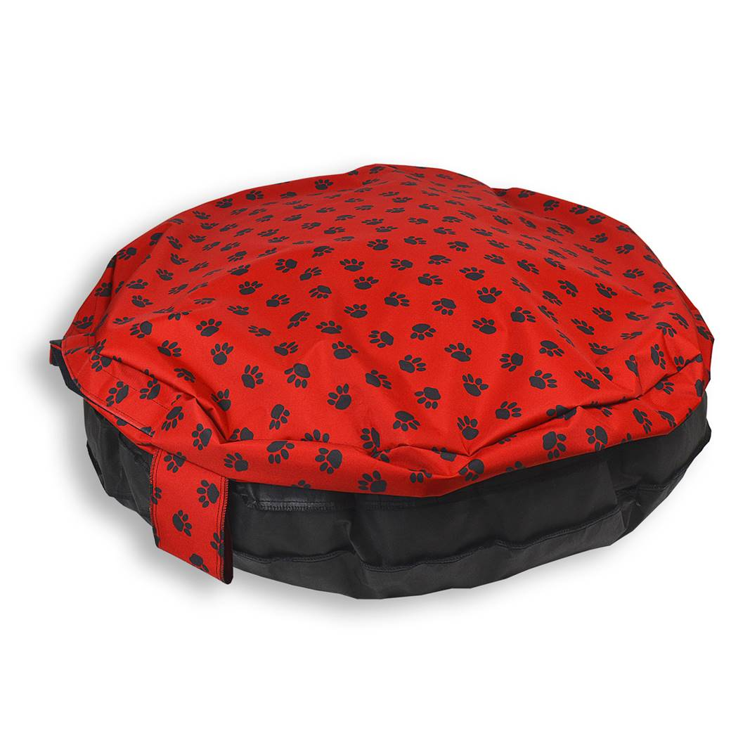 Paws Comfortable Circular Bed with Memory Foam Only  : ComfortableCircularBedwithMemoryFoamCoverPawsred01 from petbedsdirect.co.uk size 1040 x 1040 jpeg 82kB