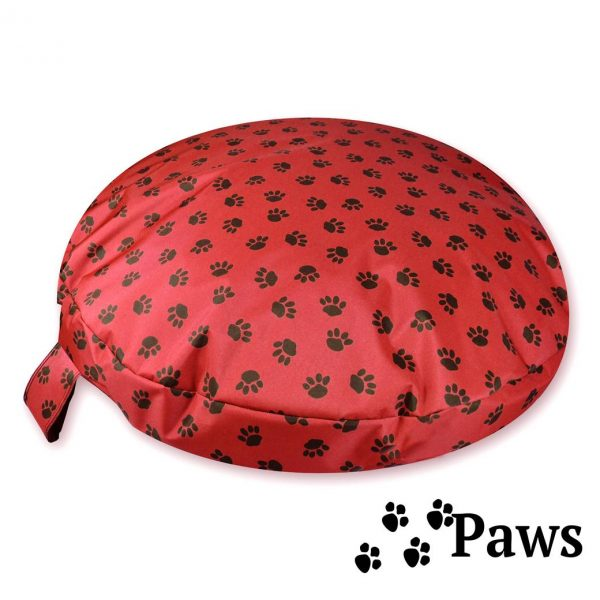 Comfortable_Circular_Bed_with_Memory_Foam_Paws_Red_00