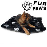 Fur paws cushion DOG BED BLACK