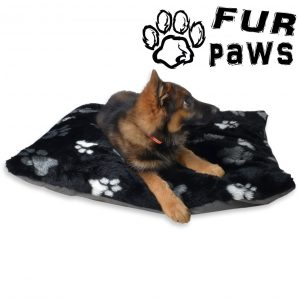 Fur paws cushion DOG BED BLACK